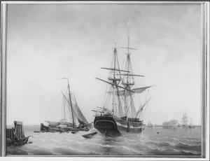 Het brikschip 'Holland' ten anker op het IJ, op de achtergrond de toegang tot het Noordhollandskanaal