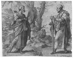 HH. Petrus en Paulus in een landschap