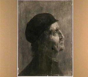 Kop van een oude man met muts en profil