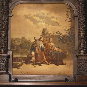 De schilder muziekmakend met zijn familie
