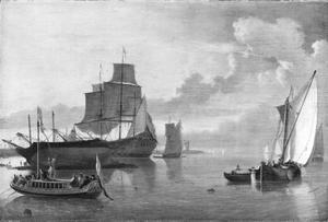 Schepen in een haven; links een schip in een dok