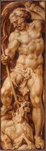 Neptunus doorsteekt met zijn drietand een zeepaard