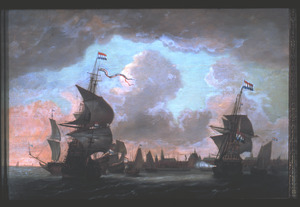Hollandse schepen voor de haven van Hoorn