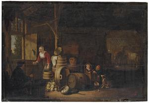 Boerenfamilie in een stalinterieur
