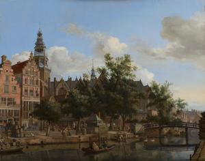 De Oudezijds Voorburgwal en de Oude Kerk te Amsterdam