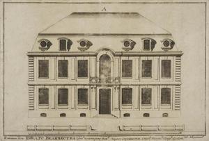 Ontwerp voor een typische facade van een huis met twee verdiepingen en een zolder voor de bouwprojecten aan de Neva-oever