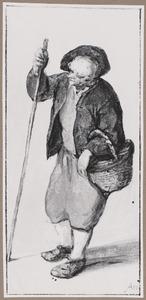 Staande boer met wandelstok en een rieten mand