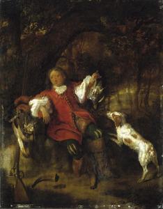 Jager die zijn jachtbuit toont