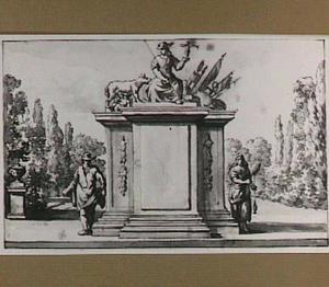 Frontispice in de vorm van een stenen basement met Roma, Romus en Remulus, zaaier en boerin met spinrokken