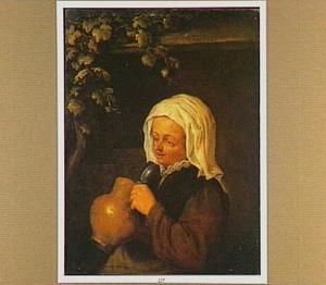 Een boerenvrouw met een steengoed kruik in de hand