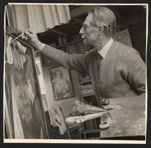 De schilder Tjerk Bottema aan het werk
