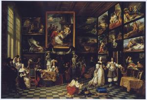 Het interieur van een kunstkabinet met een elegant gezelschap