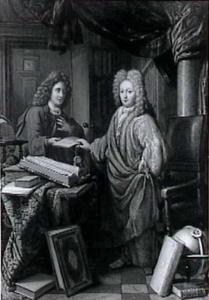 Een geleerde met zijn secretaris in zijn studeerkamer