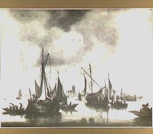 Gezicht op Dordrecht met verschillende schepen