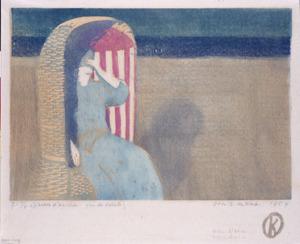 Vrouw in strandstoel