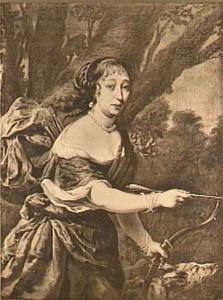 Portret van een vrouw als jager