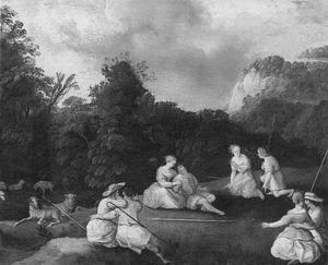 Arcadisch landschap met vier amoureuze herdersparen