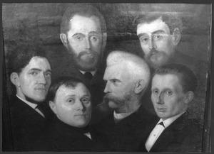 Bestuur van het Hoornse tekengenootschap: A. Brouwer, Joh. van Straten, R. van Straten, M. Vries en H. Vorderman
