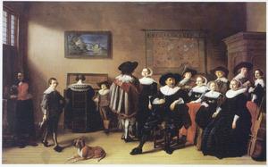 Groepsportret van een onbekende familie in een interieur