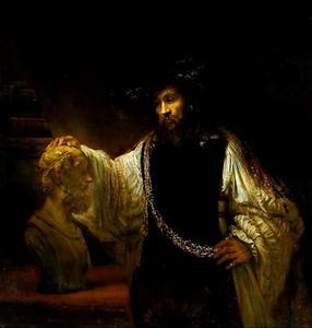 Aristoteles bij de buste van Homerus