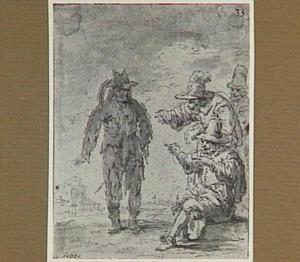 Lazarillo, gehuld in de lompen van zijn meester, wordt door omstanders bespot (Lazarillo de Tormes dl. 2, cap. 2, p. 64)