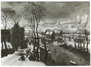 Winters dorpslandschap met overval door soldaten