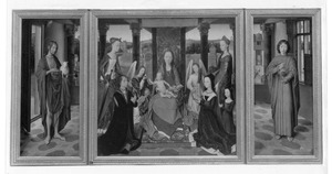 De H. Johannes de Doper (binnenzijde linkerluik), Maria met kind, de HH. Catharina en Barbara, John Donne of Kidwelly en zijn familie (middenpaneel), de H. Johannes de Evangelist (rechterluik)