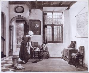 Voorhuis met een kind bij een hond, een meid die de vloer veegt en een kaart van Dordrecht