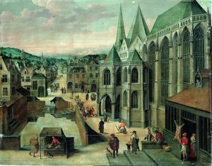 Gezicht op Aken met rechts de Mariakerk (thans de dom). In het middenplan: Petrus geneest de lamme