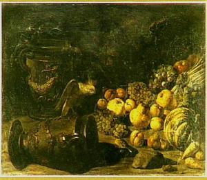 Vruchtenstilleven met tuinvazen en kaketoe