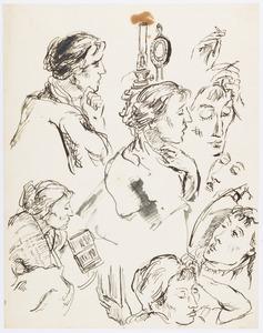 Studieblad met schetsen naar Amrey (Annemarie Balsiger)