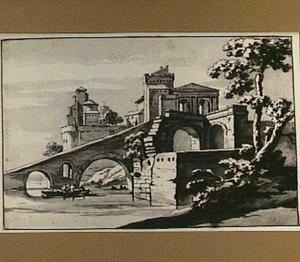Fantasiegezicht op een Italiaanse stad met de Romeinse Ponte Rotto