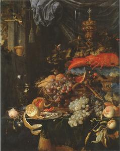 Stilleven met vruchten, een kreeft en een puttertje