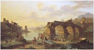 Gezicht op de Ponte Rotto in Rome
