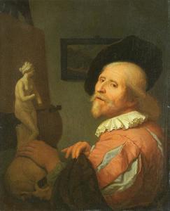 Bejaarde schilder voor zijn ezel