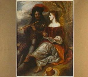 Een fluitspelende man en een zingende vrouw onder een boom