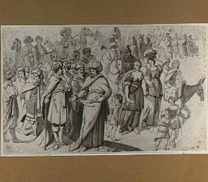 De Israëlieten met de Ark des Verbonds (rechter deel van de compositie ontbreekt)