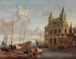 Gezicht op een mediterrane haven