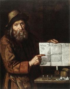 Oude man met document