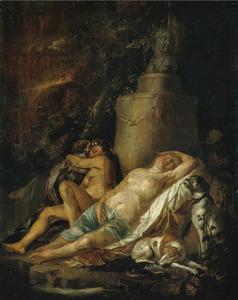 De slapende Diana en haar nimfen door een sater bespied