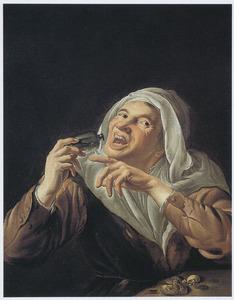 Vrouw met een flesje en snoepgoed; allegorie op de smaak
