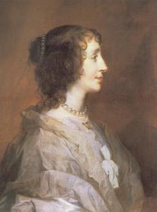 Portret van koningin Henriëtte Maria, en profil ten halven lijve naar rechts