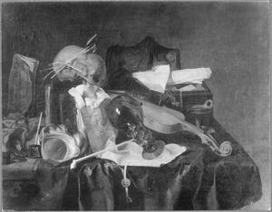 Vanitasstilleven met schedel, viool en roemer