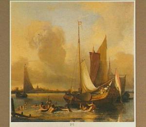Badende mensen in de rivier, in de achtergrond drie zeilschepen