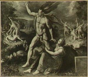 Ira, de Toorn, een van de Zeven Hoofdzonden; op de achtergrond: Kaïn vermoordt Abel (Genesis 4:8) en de steniging van de H. Stefanus (Handelingen 7:54)