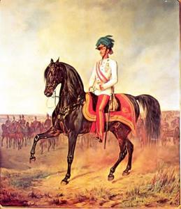 Keizer Franz Joseph I (1830-1916) op de leeftijd van 26 jaar te paard in het Wiener Arsenal