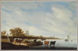 Rivierlandschap met een molen op de linkeroever