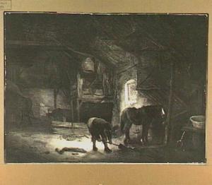 Stalinterieur met een boer en een paard