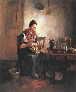 Aardappelschillende vrouw