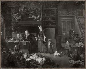 Interieur met een man die de pols voelt van een vrouw, een tandarts in de achtergrond